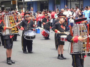 One of the many marching bands in the Costa Rican Independence Day Parade - Photos by Terry Braverman