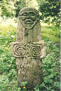An ancient carved stone at St. Oran's Well