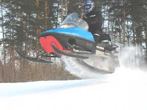 Snowmobiling is popular in Karelia.