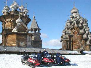 Snowmobiles in Kizhi - photos courtesy of North West Travel