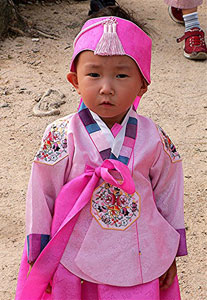 A Korean child at the harvest festival. Photos by David Rich