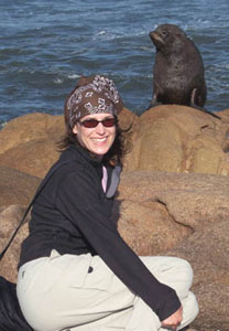Author Kelly Westhoff with a sea lion in Cabo Polonio. Photos by Kelly Westhoff