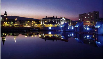 The port of Belfast at dusk - photo courtesy of belfast.org