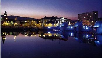 The port of Belfast at dusk - photo courtesy of belfast.org