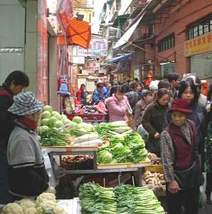A market in the old section of Macau