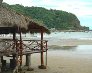 A beachfront restaurant in the surfing town of San Juan del Sur.