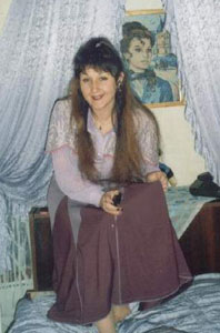 The author's friend Milena, shows a dress she made.