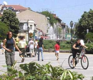 Residents stroll through downtown Ruse.