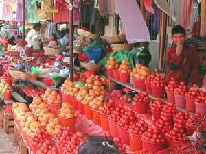 Fruit vendor in the market at San Cristobal - photo by Chris Bracken