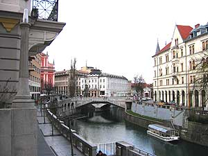 Plecnik's Triple Bridge spans the Ljubljanica River between Presernov Trg and the Market Colonnade. Photo by Christine H. O'Toole