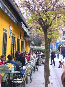 Cutty Sark Pub: Ljubljana's cafe society speaks fluent English; note the pub sign. Photo by Christine H. O'Tool