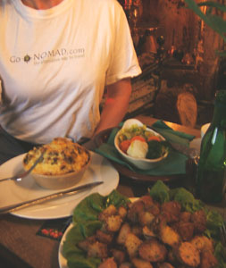 Firelit pub grub: Roasted potatoes and sausage are up-scale bangers and mash, but Shepherd's pie is down-to-earth.