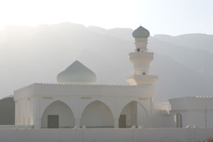 Mosque against the Hajar Mountains