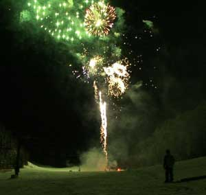 Fireworks at the Red Lodge Mountain Resort's Winter Carnival