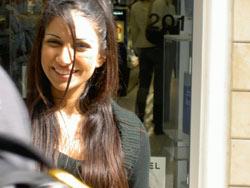 Salesgirl in Nicosia's pedestrian quater.