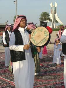 Qatari men dancing