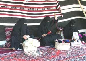 Women making yarn