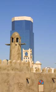 Buildings in Qatar blend old and new