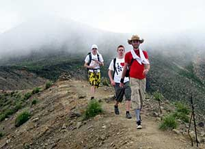 Hiking the summit