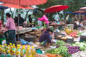 A morning market along the banks of the Mekong is a buzz of activity in Luang Prabang.