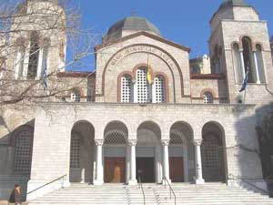 The Church of Panagias Dexias stands firmly in Kamara, downtown Thessaloniki