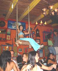 Swinging in a Cartagena, Colombia bar.