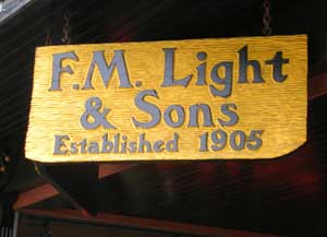 F.M. Light & Sons sign carries lots of western merchandise.