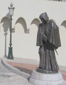 A statue of Francois Grimaldi, the 'monk' with a sword under his habit