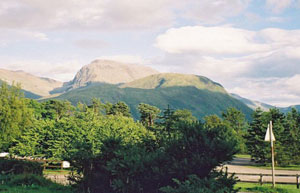 The view of Ben Nevis from the hostel