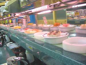 A Kaiten sushi restaurant