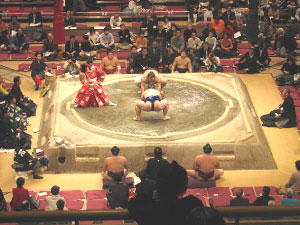 A Sumo wrestling match in Tokyo, Japan.
