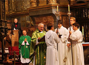 Mass is celebrated at the cathedral of Santiago de Compostela.