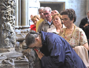 Pilgrims to the cathedral of Santiago de Compostela - photos by Paul Shoul
