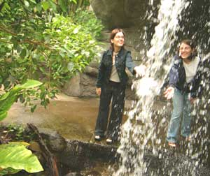 Visitors enjoy the waterfall at the Cleveland Botanical Gardens.
