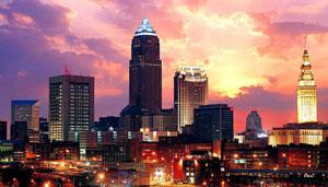 The Cleveland skyline by night