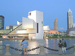 Cleveland's skyline, dominated by the Rock and Roll Hall of Fame designed by I.M. Pei