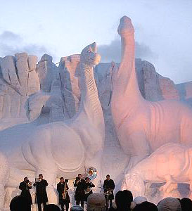 Life-Sized Dinosaurs at the Sapporo Snow Festival - photos by Ryan McDonald
