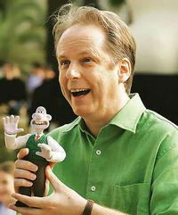 Nick Park, creator of Wallace and Gromit with a model of Gromit - photo courtesy of Wikkipedia