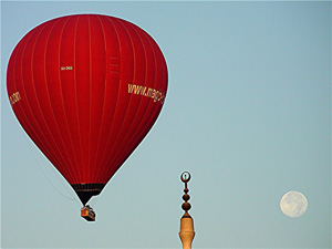 A balloon, a mosque and the moon