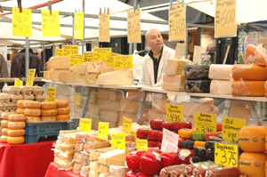 A stall at Amsteram's cheese market