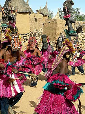 Some Dogon masks are 30 feet high.