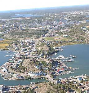 Aerial view of Yellowknife - photo by Jim Hermann