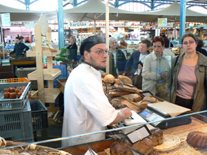 This bread baker sells out everything he brings to Dijon's indoor market each day.