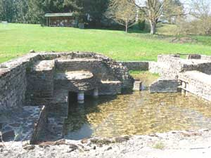 Roman thermal bath ruins at the archeological site des Fontaines Salees, near St. Pere in Burgundy