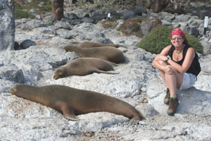 Lisa with sea lions in the Galapagos Islands