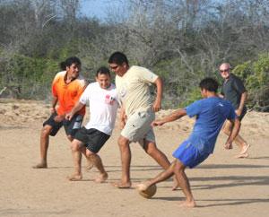 The gang plays futbol.