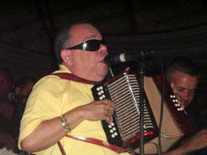 El Ciego de Nagua plays accordion at Rancho Merengue. photos by Sydney Hutchinson.