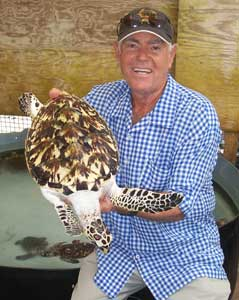 "Orton ""Brother"" King introduces one of the soon to be released hawksbill sea turtles raised at his Oldhegg Turtle Sanctuary."