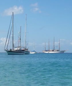 Yachts moored off Princess Margaret Beach