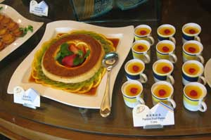Dessert buffet at the Macau Institute for Tourism Studies (Culinary School) with typical Portuguese custard and pudding and pastry.